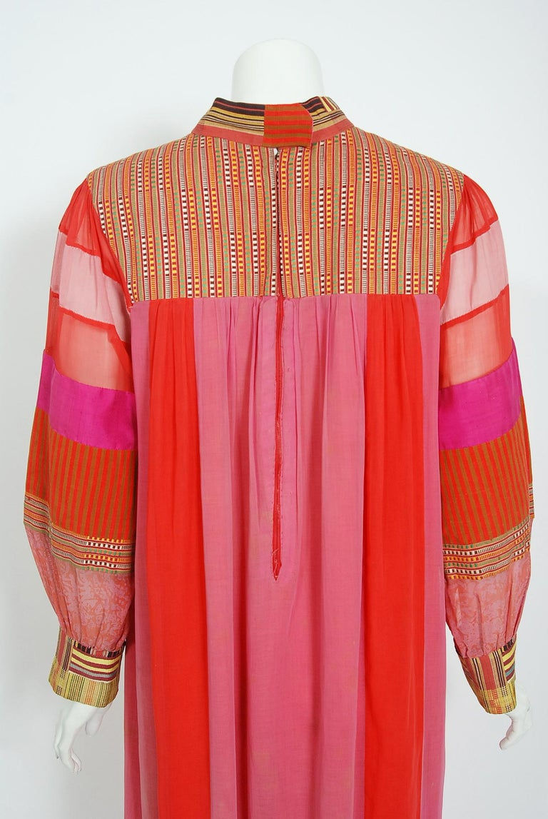 1970's Joann Lopez Embroidered Patchwork Cotton Maxi Dress Worn By Zsa Zsa Gabor For Sale 4