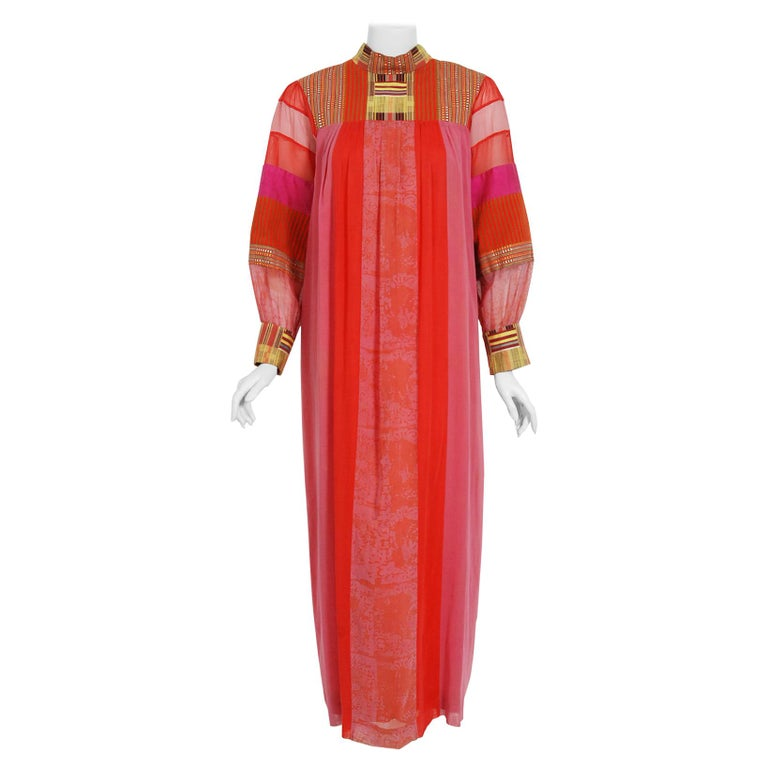 1970's Joann Lopez Embroidered Patchwork Cotton Maxi Dress Worn By Zsa Zsa Gabor For Sale