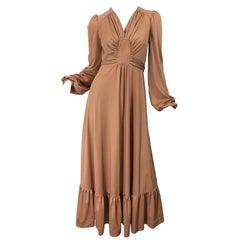 1970s Jody T Terracotta Tan Deco Style Vintage 70s Long Sleeve Jersey Maxi Dress