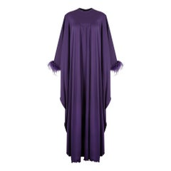 1970s John Charles Purple Jersey & Feather Trapeze Dress