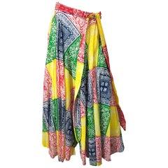 1970s Joseph Magnin Bandana Multi Color Print Boho Vintage 70s Cotton Maxi Skirt