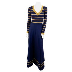 1970s Joseph Magnin Navy and Metallic Knit Dress