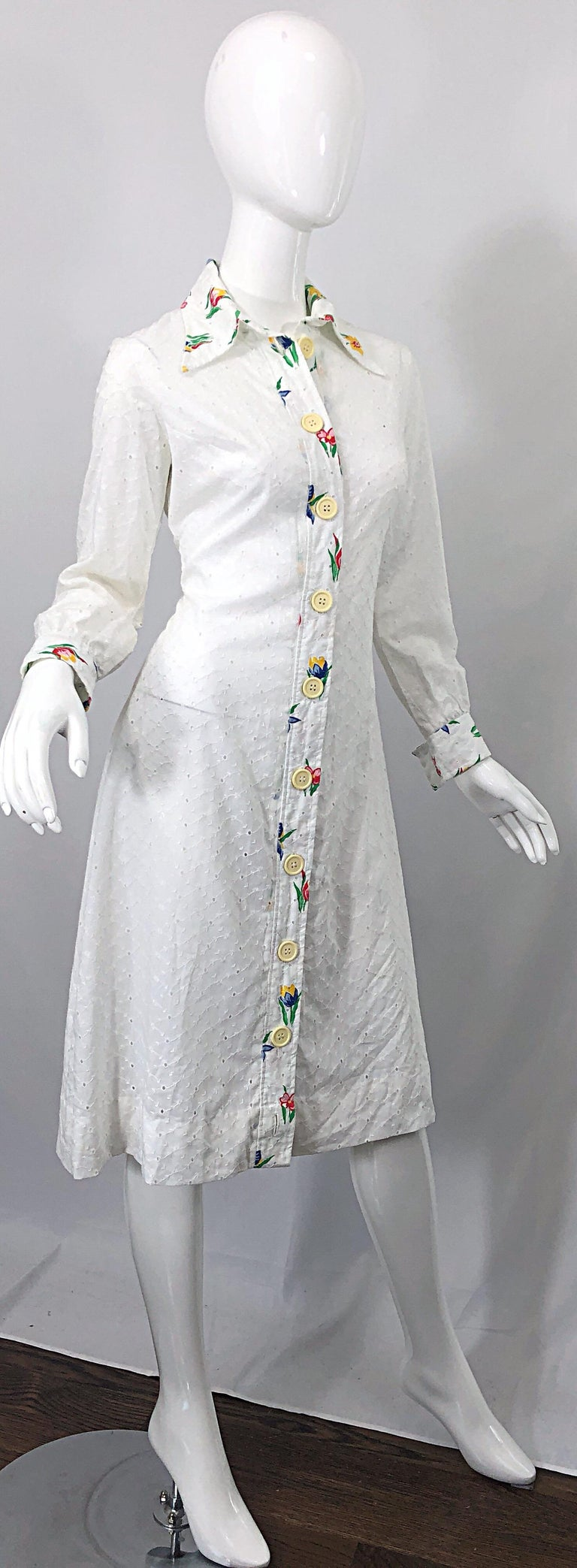 1970s Joseph Magnin White Eyelet Cotton Embrodiered Vintage 70s Shirt Dress For Sale 7