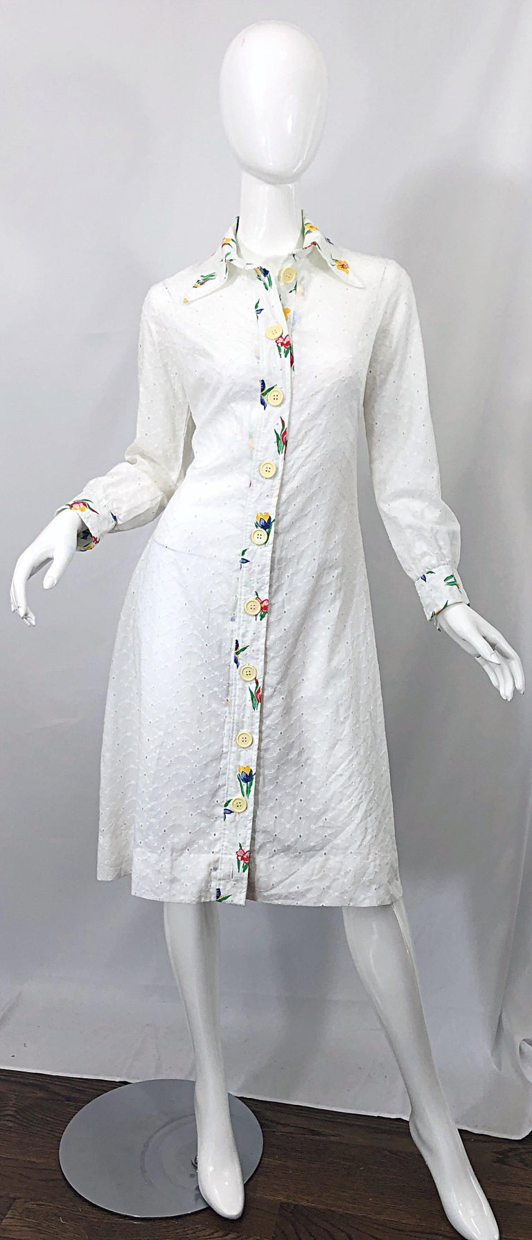 1970s Joseph Magnin White Eyelet Cotton Embrodiered Vintage 70s Shirt Dress For Sale 8