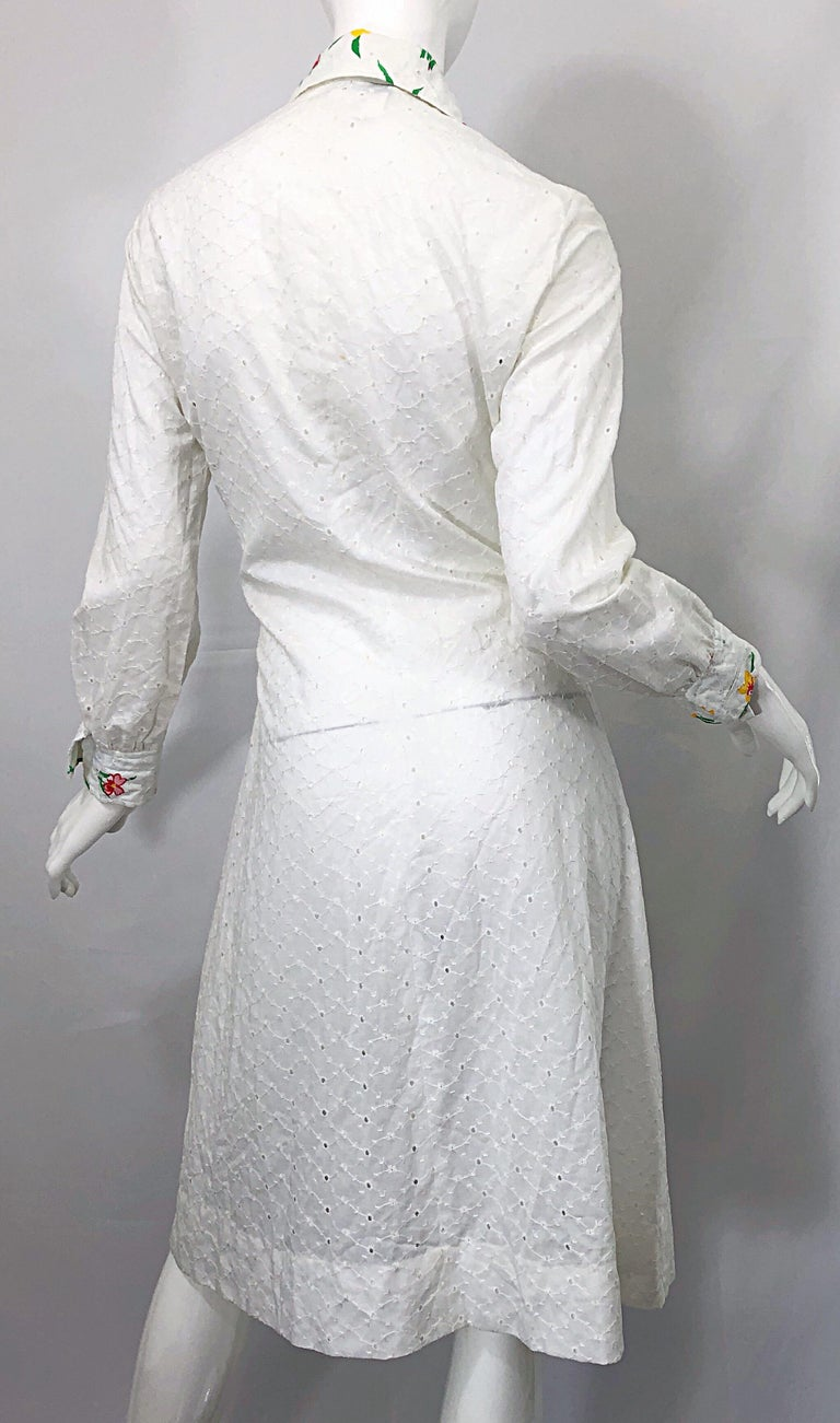 1970s Joseph Magnin White Eyelet Cotton Embrodiered Vintage 70s Shirt Dress For Sale 9