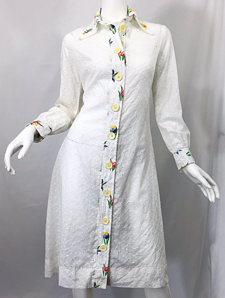 1970s Joseph Magnin White Eyelet Cotton Embrodiered Vintage 70s Shirt Dress For Sale 10