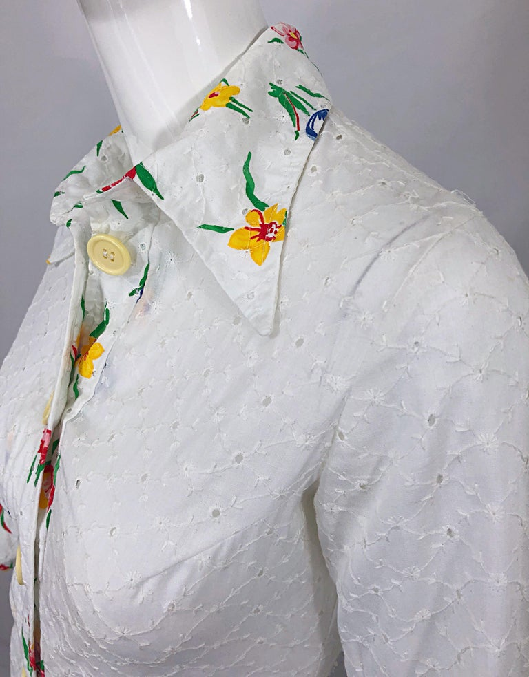 1970s Joseph Magnin White Eyelet Cotton Embrodiered Vintage 70s Shirt Dress For Sale 1