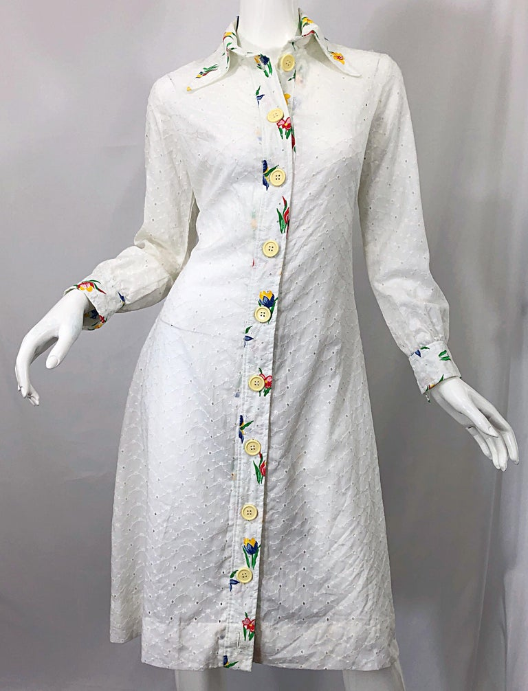 1970s Joseph Magnin White Eyelet Cotton Embrodiered Vintage 70s Shirt Dress For Sale 3