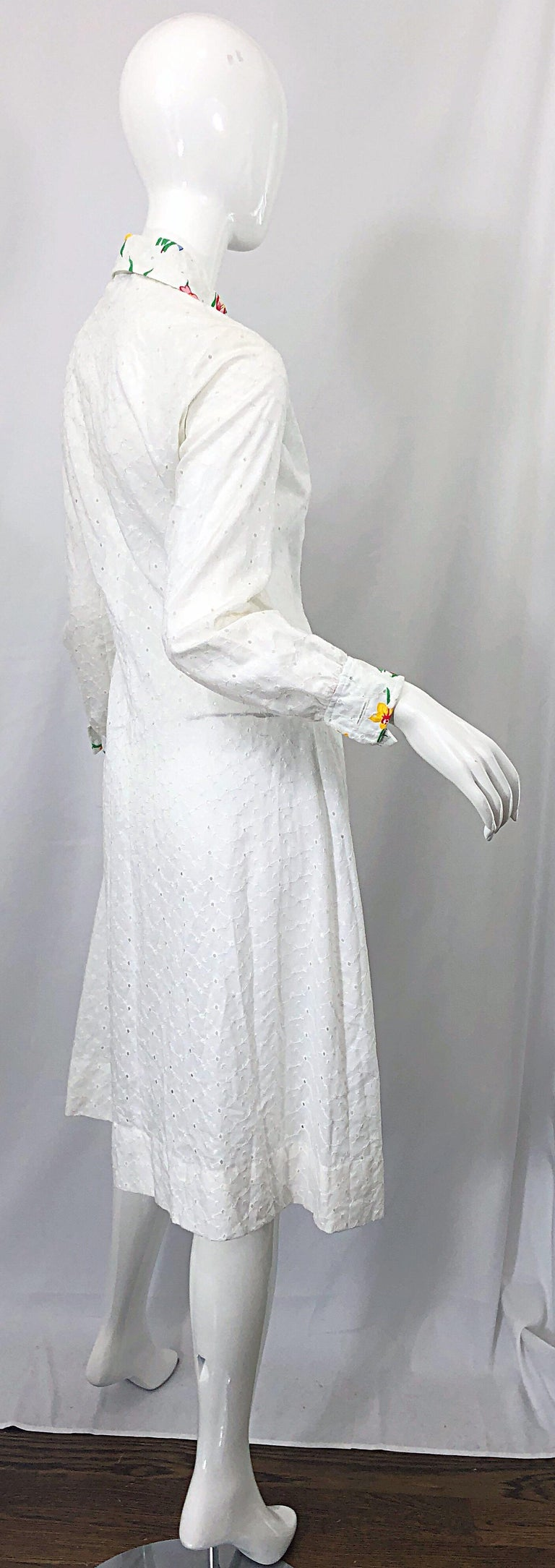 1970s Joseph Magnin White Eyelet Cotton Embrodiered Vintage 70s Shirt Dress For Sale 4