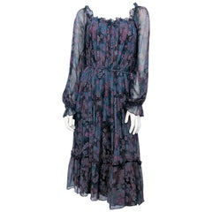 1970s Joseph Magnin Bohemian Floral Printed Dress