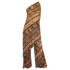 1970s Joy Stevens Batik Print Jersey Tunic Dress and Wide Leg Pants 70s Jumpsuit