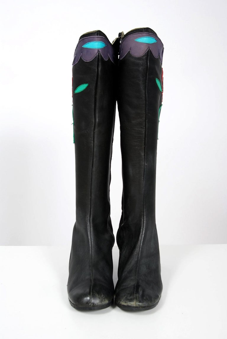 Vintage 1970's Karina of Spain Floral Applique Black Leather Knee-High Boots  In Good Condition For Sale In Beverly Hills, CA