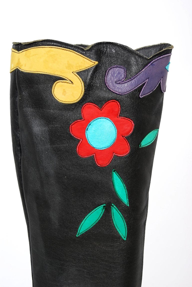 Women's Vintage 1970's Karina of Spain Floral Applique Black Leather Knee-High Boots  For Sale