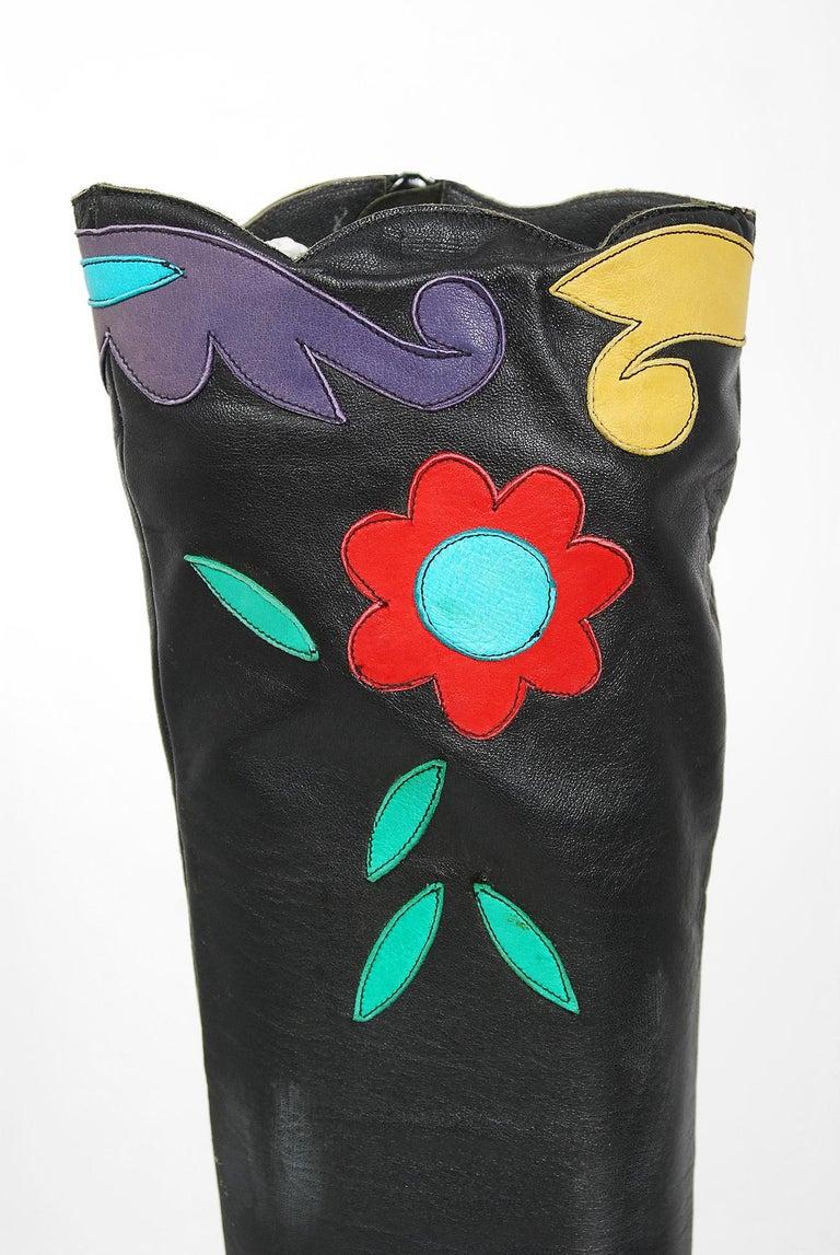 Vintage 1970's Karina of Spain Floral Applique Black Leather Knee-High Boots  For Sale 1