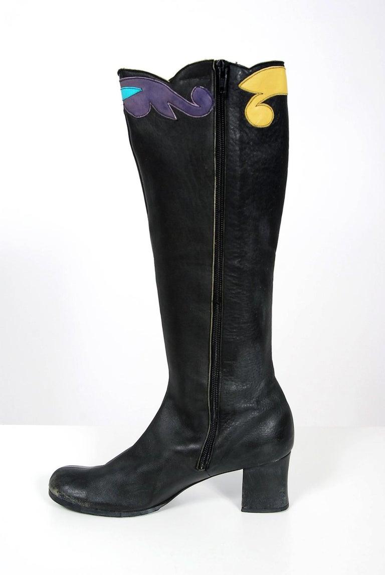 Vintage 1970's Karina of Spain Floral Applique Black Leather Knee-High Boots  For Sale 2