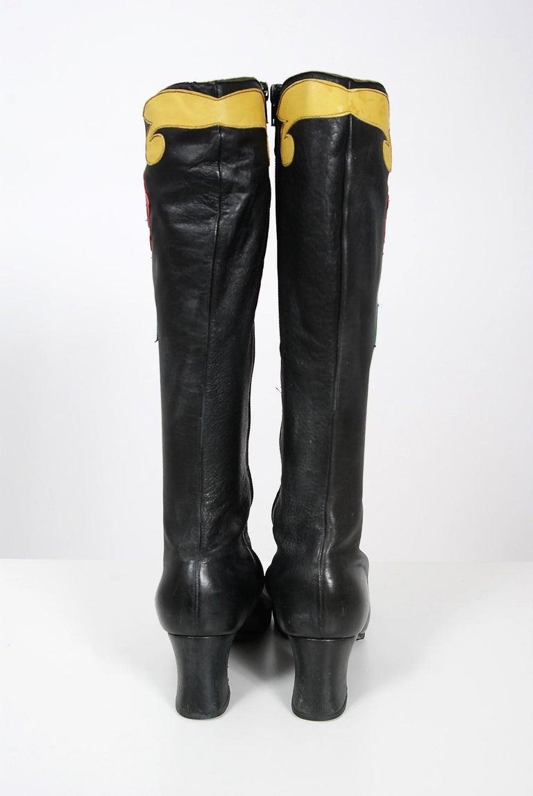 Vintage 1970's Karina of Spain Floral Applique Black Leather Knee-High Boots  For Sale 3