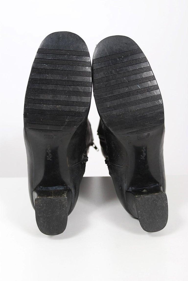 Vintage 1970's Karina of Spain Floral Applique Black Leather Knee-High Boots  For Sale 4