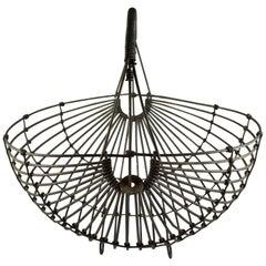 1970s Karl Howard Galvanized Steel Handmade Mid-Century Era Art Basket, Signed