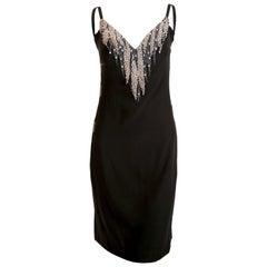 1970's KARL LAGERFELD for CHLOE black silk dress with beads