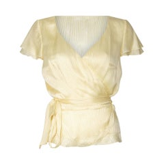 1970s Karl Lagerfeld for Chloe Yellow Silk Striped Tie Blouse