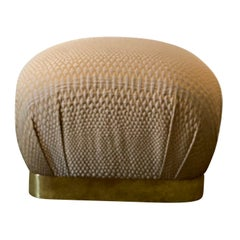 1970s Karl Springer Souffle Pouf Ottoman with Brass