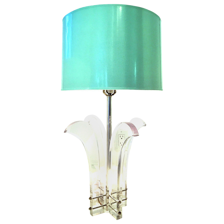 "1970s Karl Springer Style Lucite & Chrome Sculptural ""Palm"" Lamp"