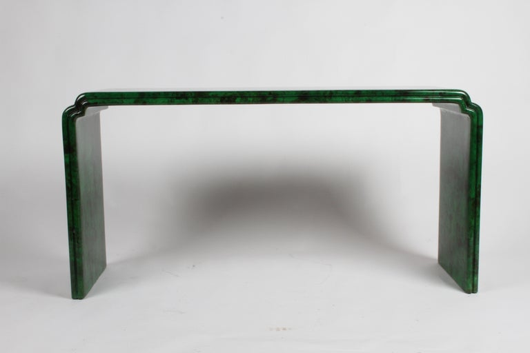 American 1970s Karl Springer Style Malachite Parchment Console Table, Hollywood Regency