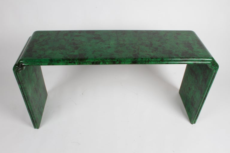 Lacquered 1970s Karl Springer Style Malachite Parchment Console Table, Hollywood Regency