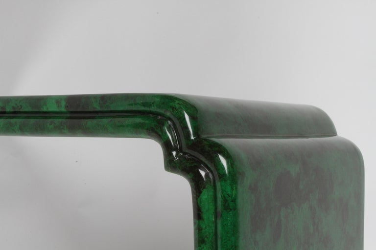 1970s Karl Springer Style Malachite Parchment Console Table, Hollywood Regency In Good Condition In St. Louis, MO