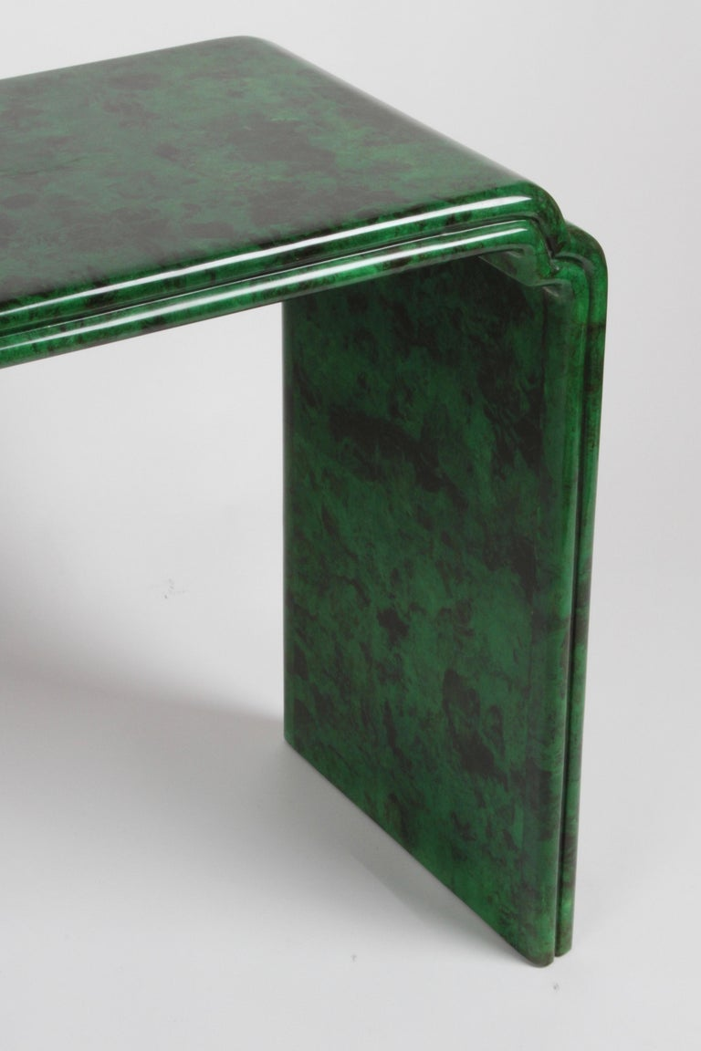 Late 20th Century 1970s Karl Springer Style Malachite Parchment Console Table, Hollywood Regency