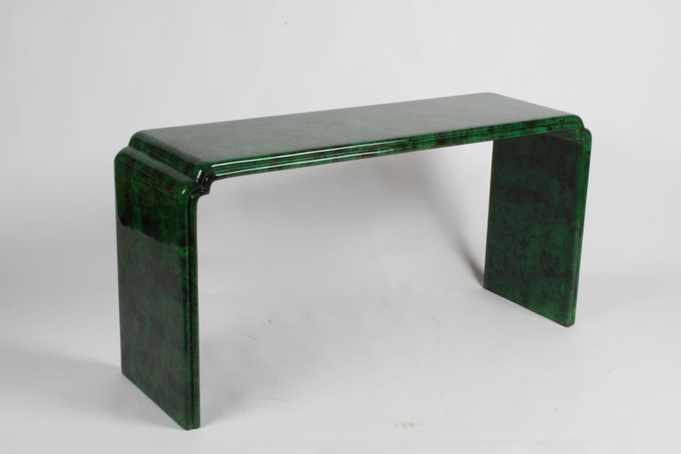 Parchment Paper 1970s Karl Springer Style Malachite Parchment Console Table, Hollywood Regency
