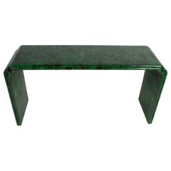 1970s Karl Springer Style Malachite Parchment Console Table, Hollywood Regency