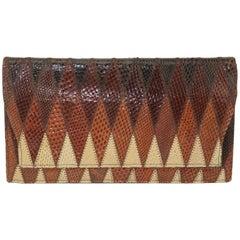 1970's Kaufmann of London Brown Snakeskin Clutch Handbag