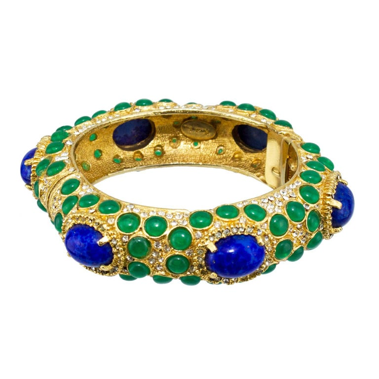 1970s Kenneth Jay Lane Gold Tone Bangle with Green and Blue Cabochon Stones  In Excellent Condition For Sale In Toronto, Ontario