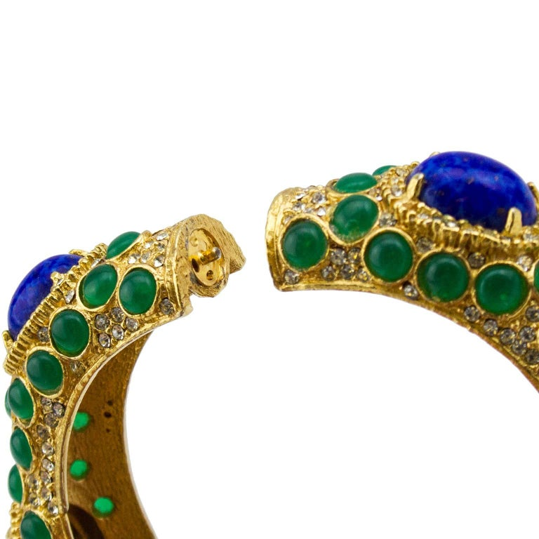 1970s Kenneth Jay Lane Gold Tone Bangle with Green and Blue Cabochon Stones  For Sale 1