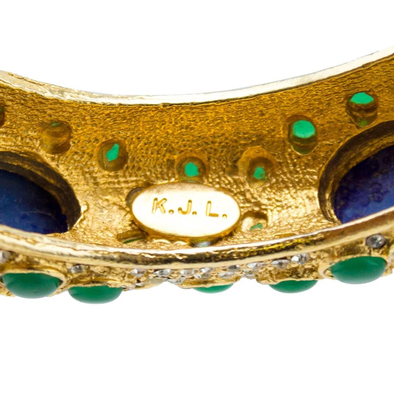 1970s Kenneth Jay Lane Gold Tone Bangle with Green and Blue Cabochon Stones  For Sale 2