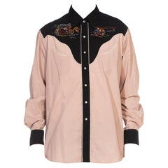 1970S KENNINGTON Tan & Black Poly/Cotton Long Sleeve Embroidred Cowboy Gamblers