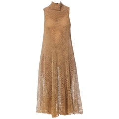 1970S Khaki Linen Dress Made From Hand Knotted Fishmerman's Net