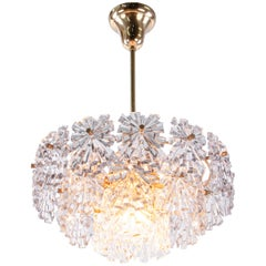 1970s Kinkeldey Starburst Chandelier Crystals on Gilt-Brass