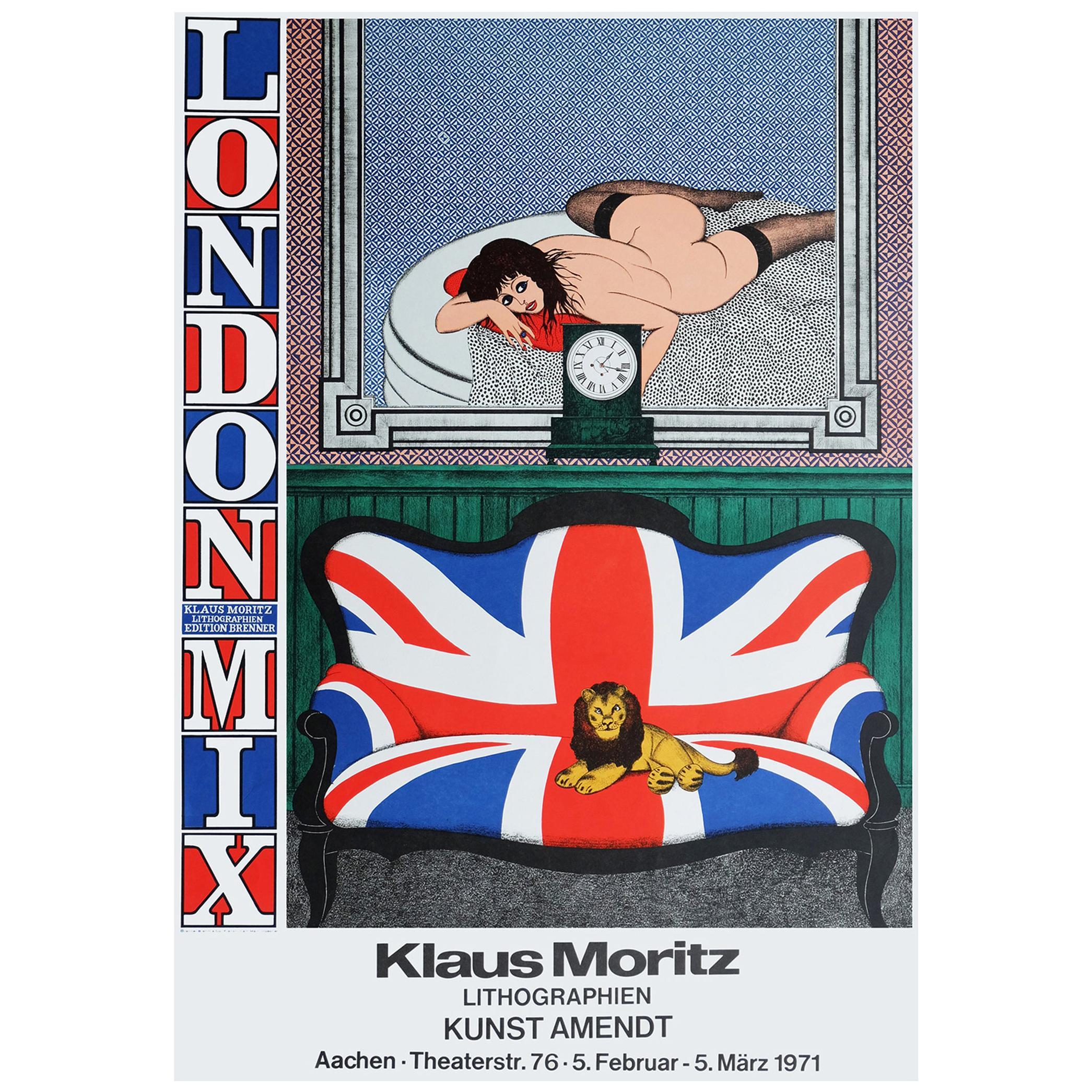 1970s Klaus Moritz London Mix Exhibition Poster Britain Pop Art