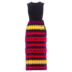 1970S Knit Crochet Dress With Braided Belt