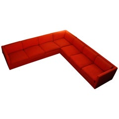 1970's Knoll Sectional Sofa by Charles Phister in Primary Red Wool Upholstery