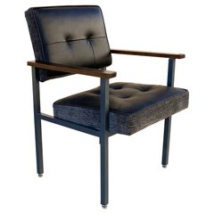 1970s Knoll Style Armchair with Refinished Steel and New Leather