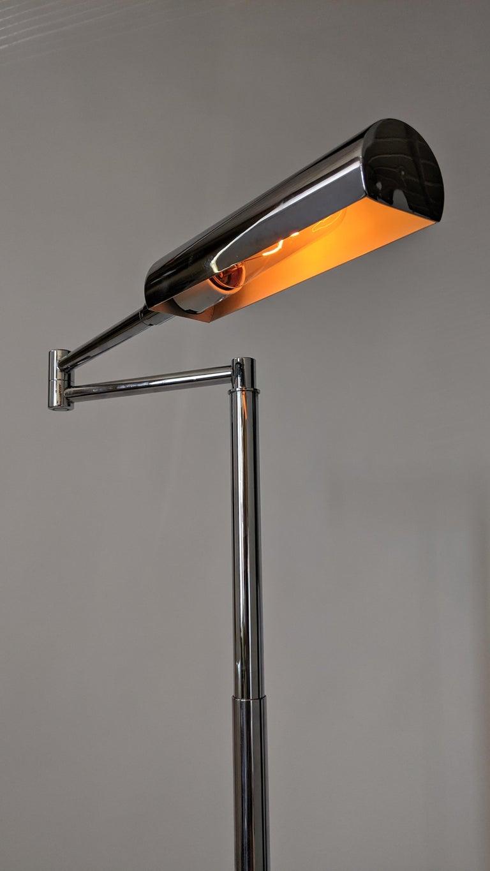 American 1970s Koch & Lowy Swing Arm Telescopic Reading Floor Lamp, USA  For Sale