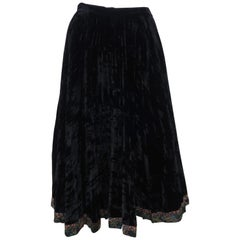 1970's Koos Van den Akker Black Crushed Velvet Peasant Skirt