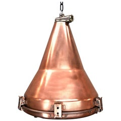 1970s Korean Copper, Cast Brass and Glass Industrial Flood Light Pendant Lamp