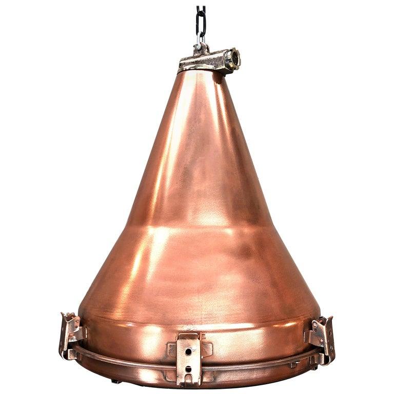 1970s Korean Copper, Cast Brass and Glass Industrial Flood Light Pendant Lamp For Sale