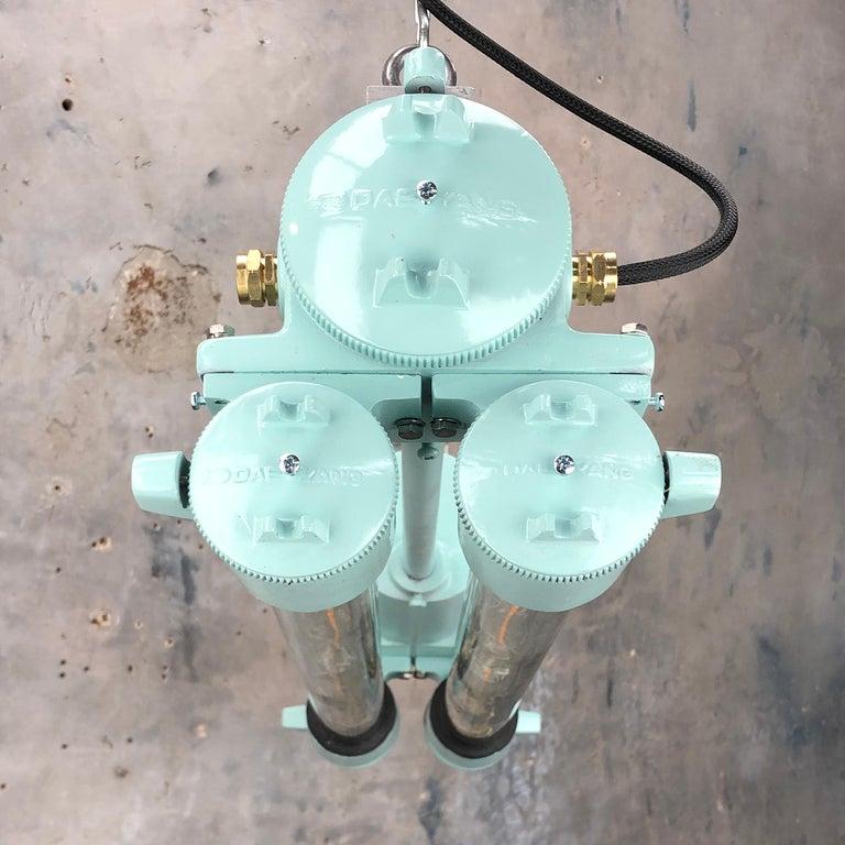 1970s Korean Industrial Cast Aluminum Edison LED Flameproof Strip Light Duck Egg For Sale 9
