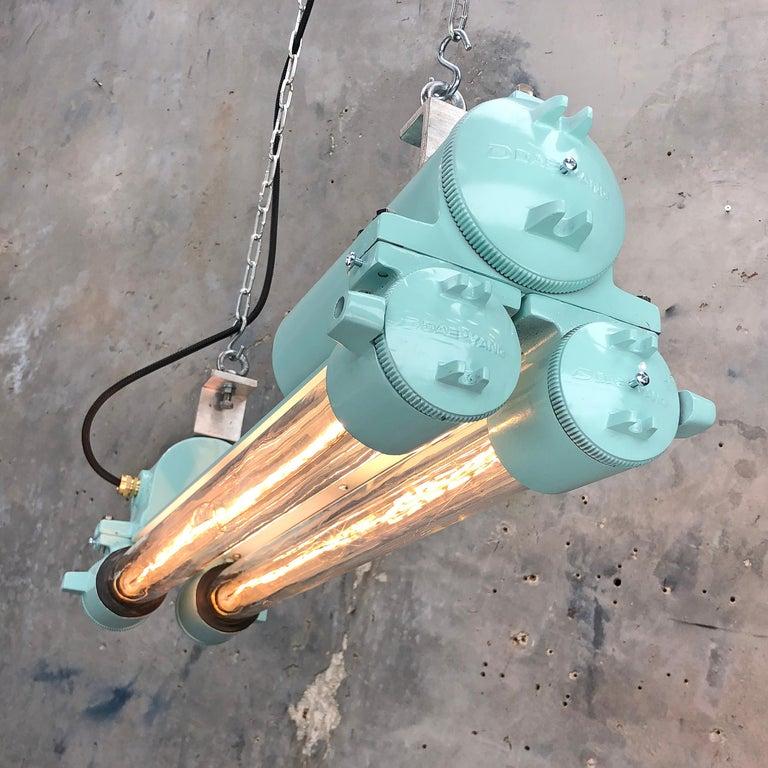 1970s Korean Industrial Cast Aluminum Edison LED Flameproof Strip Light Duck Egg For Sale 1