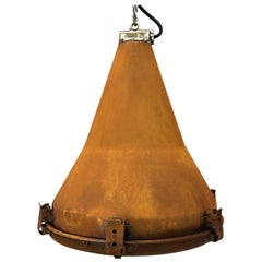 1970s Korean Vintage Industrial Steel Conical Pendant Light with Applied Rust
